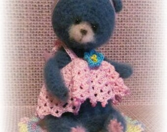 Belle,  OOAK Miniature  Thread Artist Bear Crochet Doll