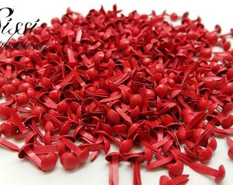 LOT 50 clip Paris MINI round red SCRAP SCRAPBOOKING BRADS card 9X5mm