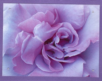 Lavander Rose Photo Blank Notecard, Romantic Floral Card, Blank Photo Note Card, Gift for Her, Inspirational Note Card, Mother's Day Card