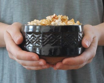 Stamped Bowl // Ceramic Bowl // Handmade Pottery Bowl // Patterned Bowl // Serving Bowl // Black Bowl // Modern Rustic Bowl