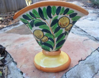 Vintage Hand Painted Fan Vase