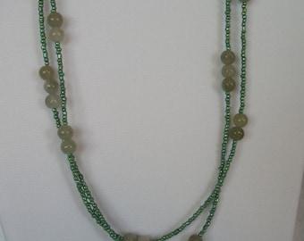 Green Aventurine Necklace, Multistrand - P55