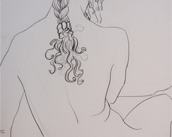 "Handmade Drawing, Fine Art, Original Artwork on Paper, Drawing:  ""The Braid"""
