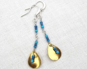 Statement Jewelry Technology Geometric Drop Earrings Wearable Tech Computer Earrings Petite Resistors Electronics Eco Friendly Earrings