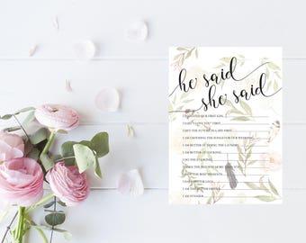 He said she said | Feathers | Printable | DIY | Watercolour Floral
