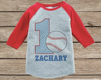 Boy's Birthday Outfit - Baseball Birthday Shirt - Onepiece or Tshirt - First Birthday Outfit - Red Raglan Birthday Shirt - 1st Birthday Top
