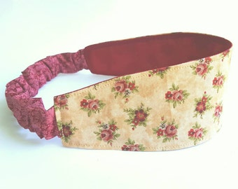 Victorian Headband, Reversible Headband, Ivory Headband, Red Roses Head Band, Hair Wrap, Yoga Headband, Wide Head Wrap, Maroon Hairband