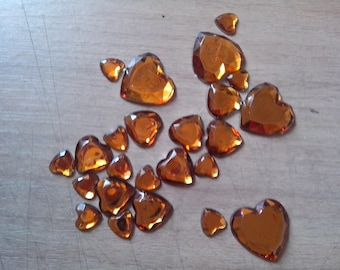 set of 24 yellow heart cabochons / orange sizes different