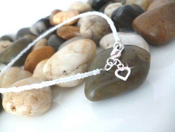 White Pearlised Anklet with Silver Open Heart Charm, Ankle Bracelet, Boho Anklet, White Ankle Bracelet with Heart Charm, Dainty White Anklet