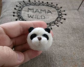 Panda felted pin / brooch needlefelt panda