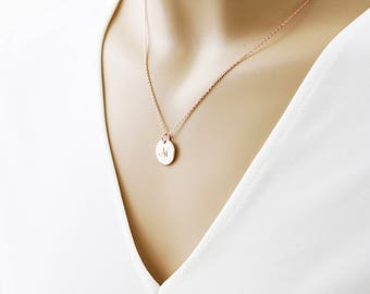 Personalized disk necklace dainty circle tagcoin with custom rose gold circle initial necklace dainty circle necklace alphabet necklace birthday gift mozeypictures Choice Image
