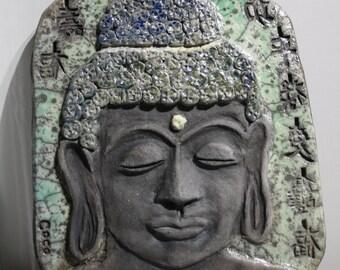 Ceramic raku Boudha Bas relief wall decoration