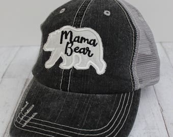 Mama Bear Grey Distressed Trucker Hat
