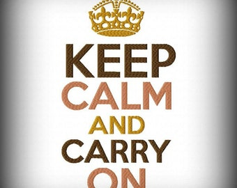 Keep Calm and Carry On Crown Machine Embroidery Design