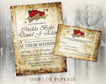 Rose Tattoo Wedding Invitation and RSVP - Digitable Printable Rocker Rockabilly Distressed Paper-Roses-Swallow Bird Wedding Invite Set