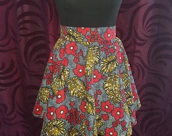 Beautiful Floral Ankara Flared Mini Skirt - Size 8/10,14/16