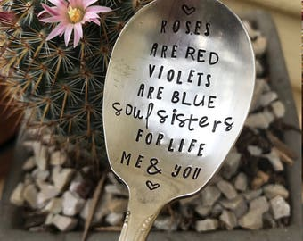 Stamped Silver Spoon, Friendship Poem, Soul Sisters, Stamped Silver, Coffee Spoon, Silver Spoon, Friendship Gift Soul Sister, Galentines Day