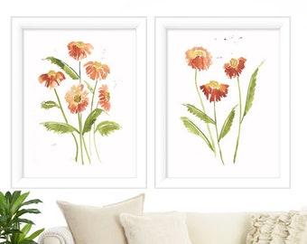 Floral Set of 2 -  Watercolor Print - Floral Wall Art - Watercolor Print - Watercolor Wall Art - Watercolor Painting Floral - Watercolor Art