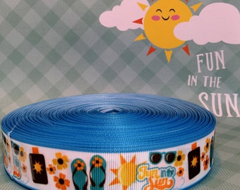"1"" Summer Fun in the Sun,  Summertime Fun,  Play in the Sun, Printed  Grosgrain Ribbon"