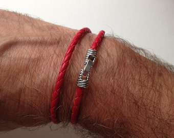 Leather Friendship Bracelet made with a braided leather cord round red 4 mm in diameter - 2 ROUNDS - silver streak Groove clip clasp