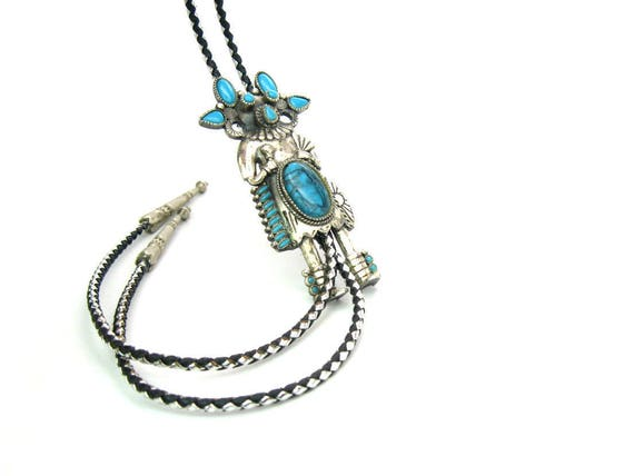 Vintage Southwestern Silver Tone Kachina Dancer Slide with Imitation Turquoise Bolo Tie