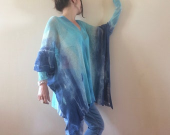 blue linen tunic, knit hand dyed blouse, unique women oversized sweater, turquoise flax pullover, V neckline, art to wear, one size OOAK 293