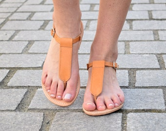 Ancient greek sandals, Tan sandals, T-strap sandals, Greek leather sandals, womens leather sandals, flat sandals, AGAPI sandals