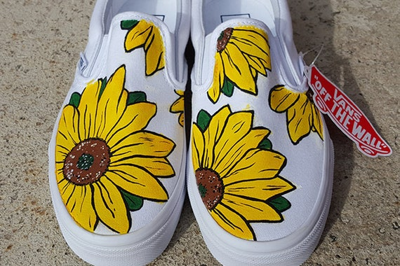 yellow checkered vans with sunflowers nz