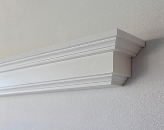 Wood Wall Shelf- White Floating Display Shelf or Fireplace Mantel- Lengths of 36, 48, 60, or 72 Inch.