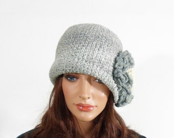 Crochet Cloche Hat with Large Flower - Gray