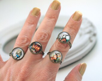 Set 4 Alice in Wonderland rings Cheshire Cat cute stackable gothic lolita egl