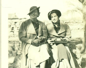 1930s Helen Steele and Virginia Sitting Outside Hats 30s Antique Vintage Photograph Black White Photo