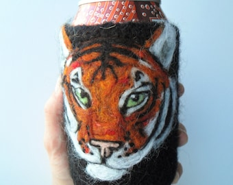 Tiger can cozy needle felted