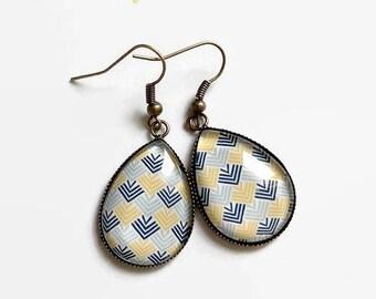Earrings drops, Scandinavian design, geometric triangles yellow blue, glass cabochon