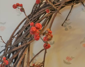 Natural Bittersweet vine, wreath with some berries - oval shape - perfect for Easter decor