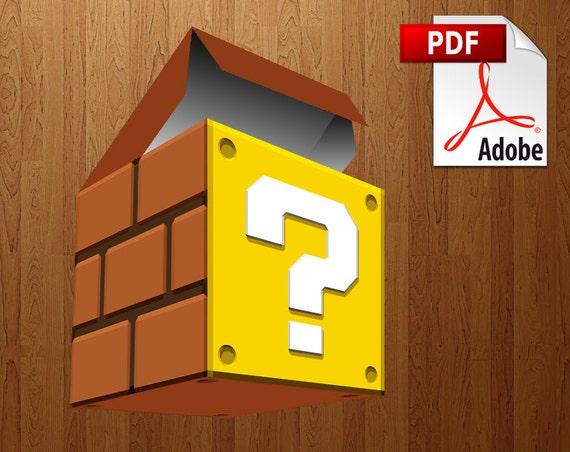 Super Mario Bros. Question Block papercraft party favor boxes