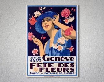 Geneve Fete des Fleurs, 25-26 Juin 1927  Vintage Travel Poster - Poster Print, Sticker or Canvas Print / Gift Idea