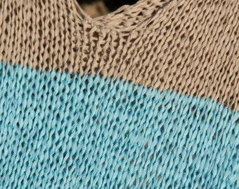 Summer top, loose knit tank, womens knitted t-shirt