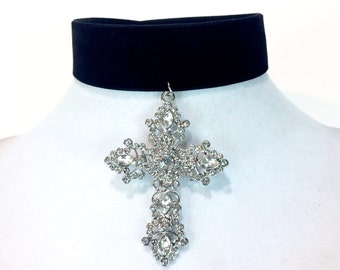 Caressa Crystal Cross Choker