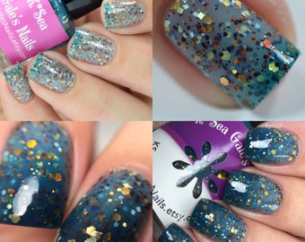 Skipping Stones - Indie Handmade Nail Polish 5-Free Glitter Thermal Crelly Lacquer