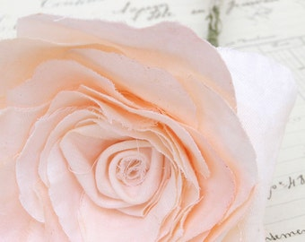 2nd Second Wedding Anniversary Long Stem Peach Rose Cotton Gift Flowers by Cotton Bird Designs