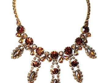 Vintage c.1950's Topaz & Amber Faceted Glass Bib Necklace