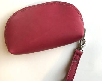 Leather Zip Pouch, Dark Pink Leather Pouch, Leather Cosme
