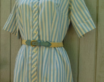 Vintage 60's Cotton Button Front House Dress with Matching Belt by Country Miss