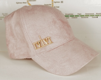 """Baby Pink Suede """"416"""" Golden Chrome Collection Dad Caps. Original, Custom, CN Tower, The Six, 6ix, 416, Area Code Hats with Roman Numerals!"""
