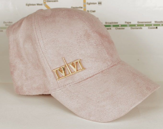 "Featured listing image: Baby Pink Suede ""416"" Golden Chrome Collection Dad Caps. Original, Custom, CN Tower, The Six, 6ix, 416, Area Code Hats with Roman Numerals!"