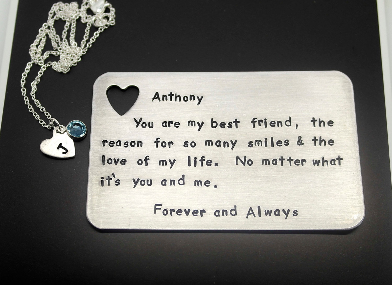 Hand Stamped Insert Card with Heart Necklace ( Sterling Silver Chain ...