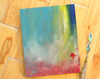 Modern Wall Art, Wall Decor, Abstract, ColorFall, Rainbow, Color splash, landscape, original acrylic painting on canvas