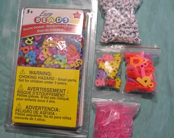 DESTASH LOT - Plastic Letter Beads and Charms