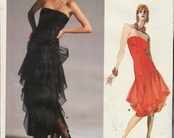 Vogue 1701 / Vintage Designer Original Sewing Pattern By Bellville Sassoon / Evening Dress / Strapless Gown / Size 10
